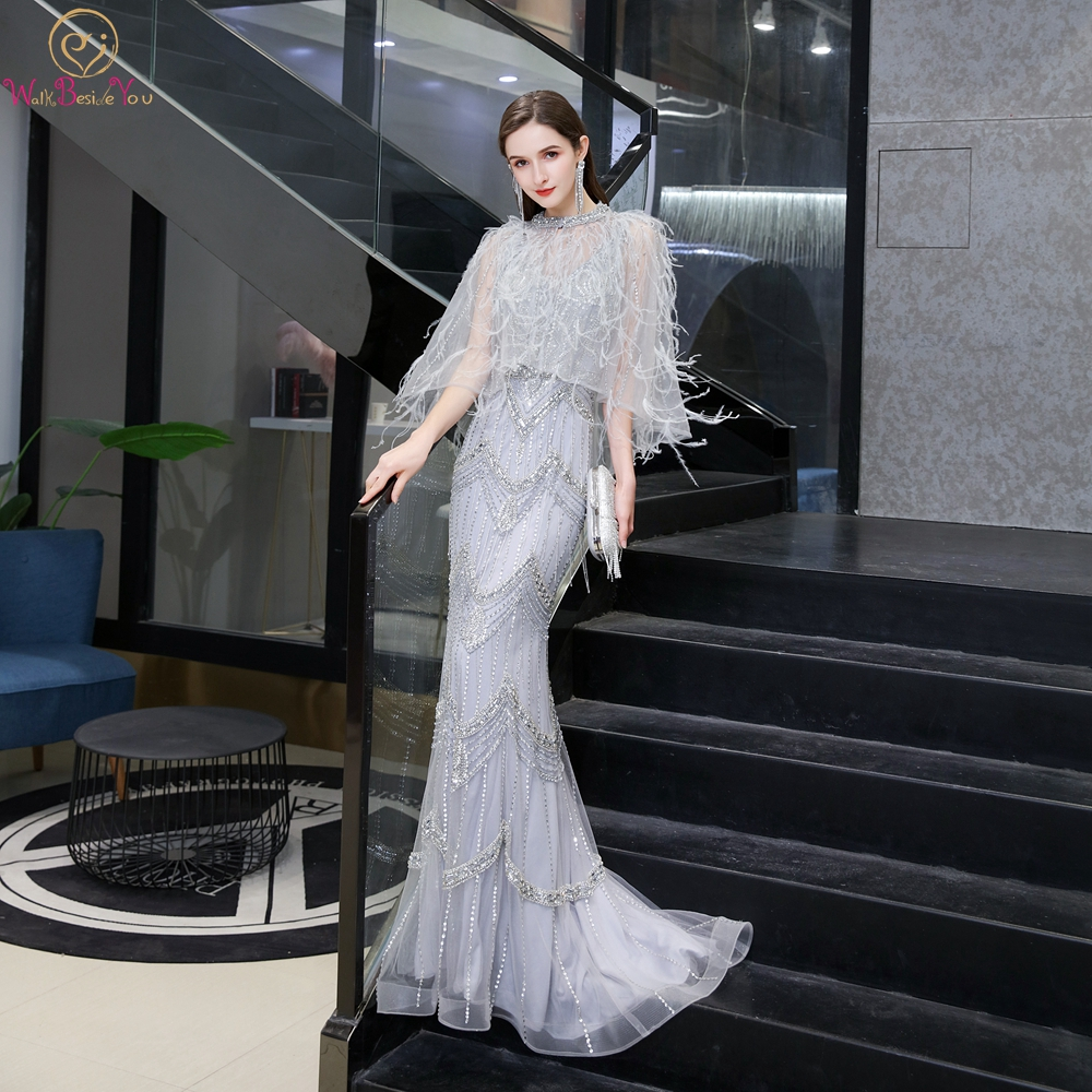 Elegant Beading Prom Dresses 2020 Gray Crystal Engagement Party Feather Cape Mermaid Sweetheart Plus Size Prom Gowns Ceremony
