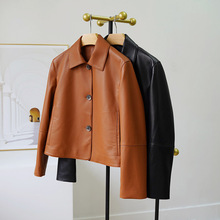 OFTBUY 2021 New Spring Autumn Casual Real Genuine Sheepskin Leather Jacket Coat Turn Down Collar Single Breasted