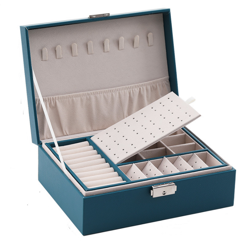PU Leather Jewelry Storage Box Portable European-Style Multi-Function Packaging Box  With Drawer Winter Gift 1
