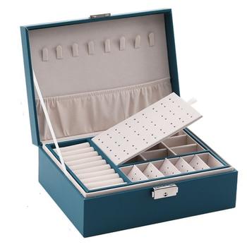 Коробка для хранения ювелирных изделий из искусственной кожи, портативная многофункциональная упаковочная коробка в европейском стиле с я...
