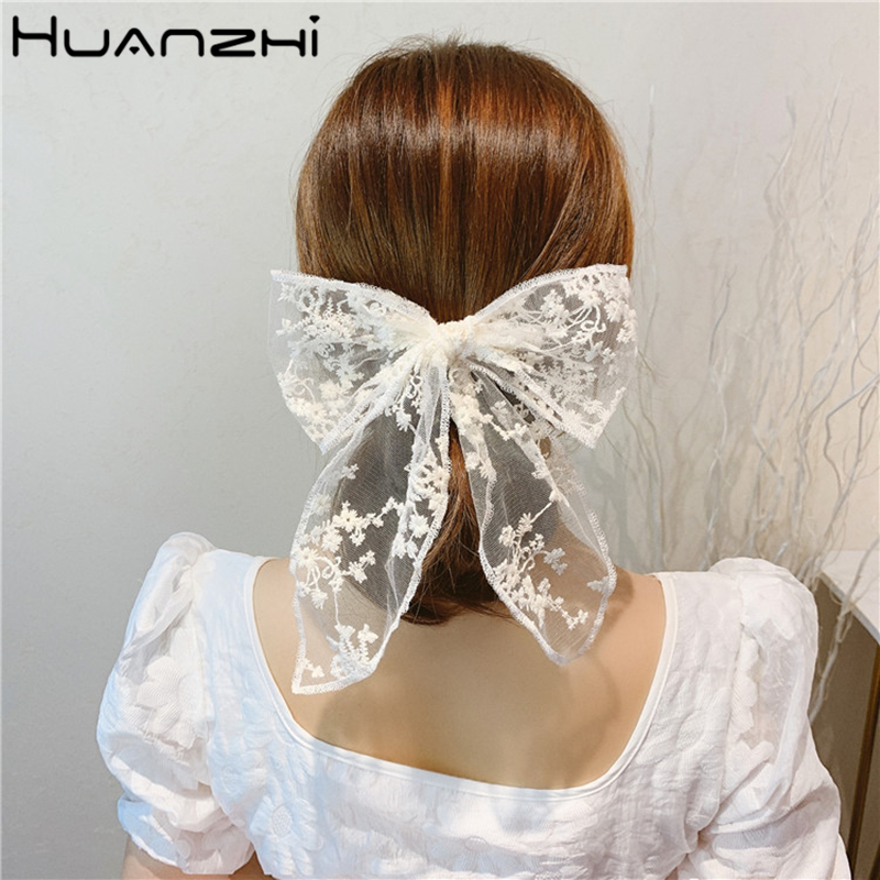 HUANZHI 2020 New Vintage Sweet Lace Bow-knot Transparent Elastic Fairy Hair Bands Ponytail Holder Girls Women Hair Accessories