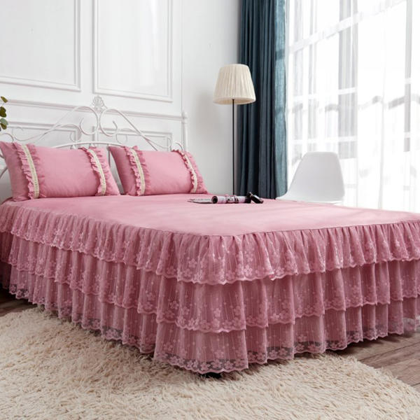 2020 New Princess 1/3 Pcs Bed Sets Multi Layers Lace Girls Bed <font><b>Skirt</b></font> Pillowcase Soft Bed Sheet Elastic Bedskirt Fitted Sheet image