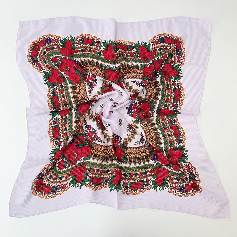 Handkerchief Scarf Russian Retrol Floral Printed National Gold Shinny Dustproof Muslim Headscarf Acrylic Small Scarf 80x80cm