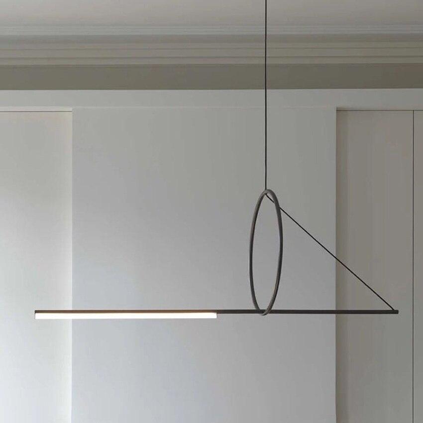 Nordic preto led luzes pingente moderno ferro forjado forma geométrica criativo longo pendurado lâmpada para sala de jantar iluminação interior|Luzes de pendentes| |  - title=