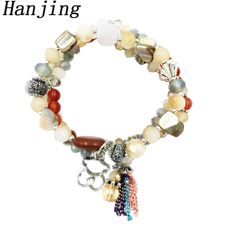 hangjing 3pcs/set luxury friendship stretch wholesale New women charm crystal bead natural stone bear bracelets  for couple