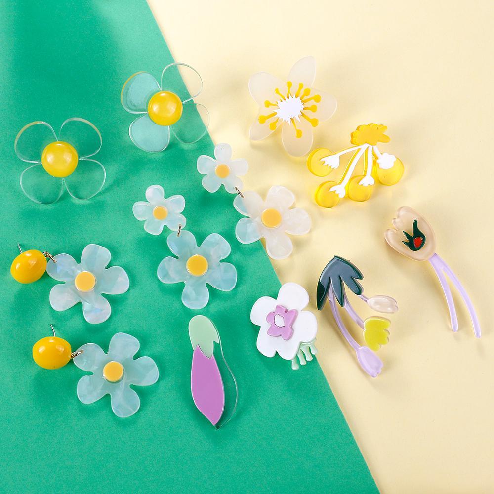 AENSOA новые уникальные висячие серьги в форме цветка для женщин эффектные разноцветные акриловые Подвесные серьги модные украшения для кост...