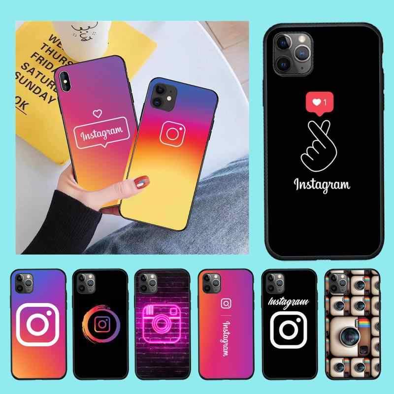NBDRUICAI – coque souple noire avec LOGO Instagram, pour iPhone 11 pro XS MAX 8 7 6 6S Plus X 5s SE 2020 XR