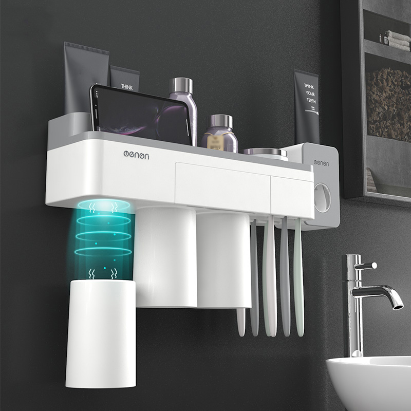 Bathroom Accessories Set Toothbrush Holder Wall Mount Stand Toothpaste Squeezer Dispenser Automatic Storage Rack Organizer image