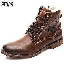 Men's Boots Footwear Work-Shoes British-Style Big-Size Warm Plush Zapatos-De-Hombre