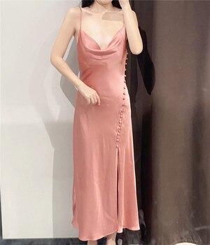 Новинка, женское пикантное однотонное платье-миди Zevity с V-образным вырезом и боковыми пуговицами, женское Клубное платье на бретелях-спагетти с разрезом, магазин алиэкспресс