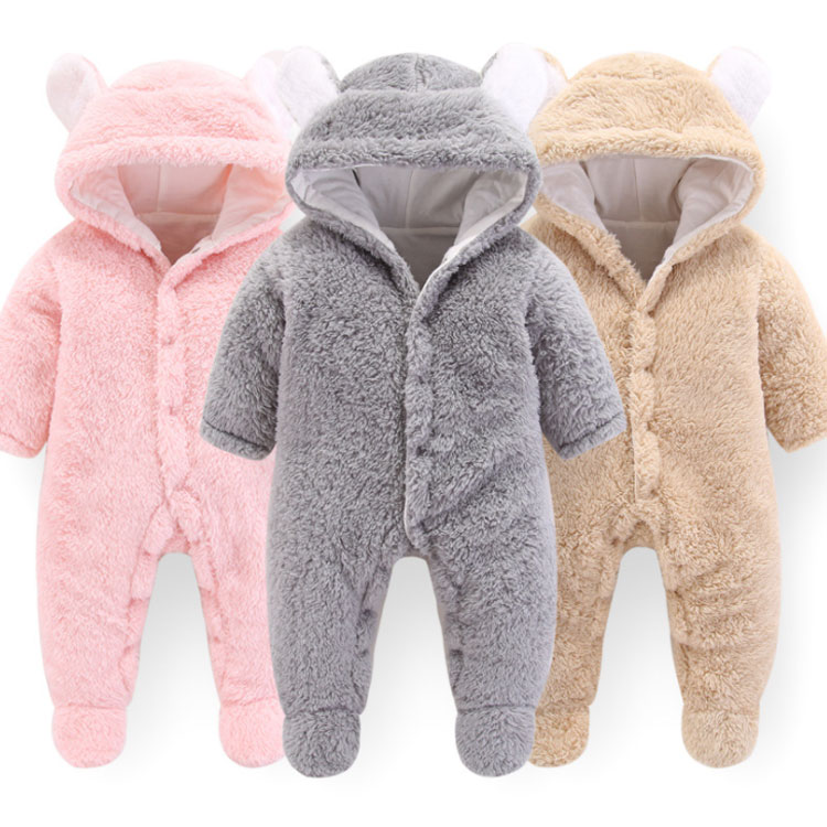 Autumn Winter Baby Cotton velvet Cute Ears   Rompers   Baby Girl Boy Clothing Infant Baby Girl Clothes Jumpsuits Footed Coverall