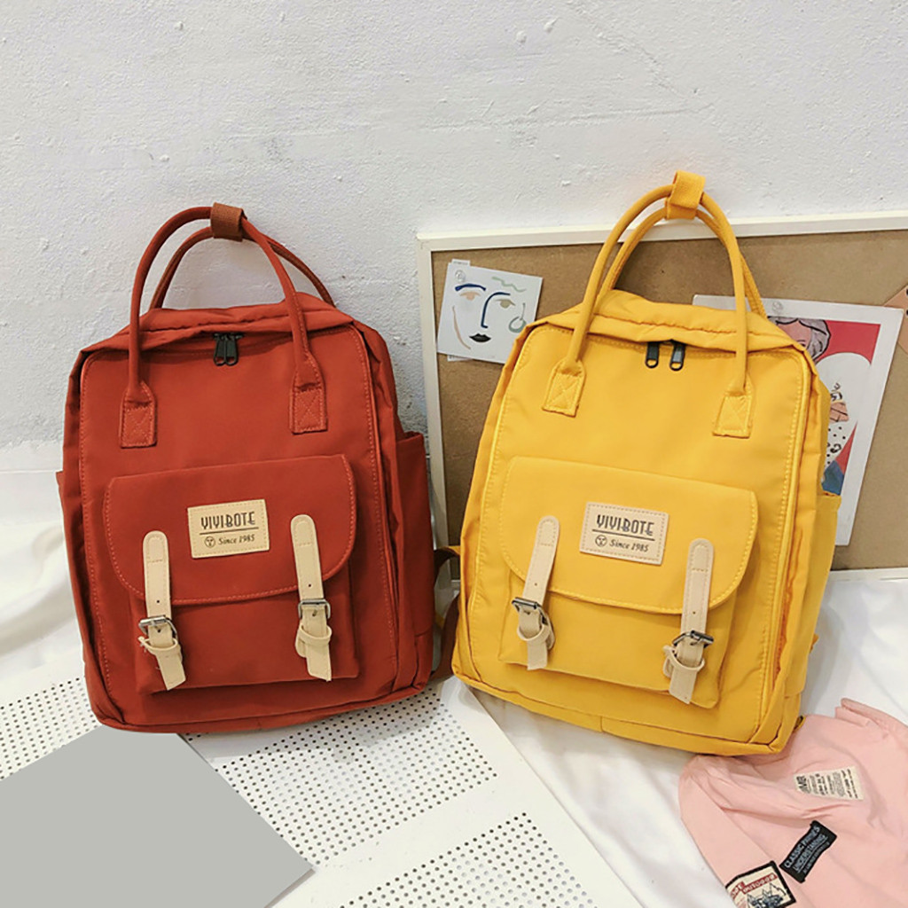 Minimalist Waterproof Canvas Backpack Candy Color Small Fresh Female On Korean College Student Travel Backpack Bag Tide Wind