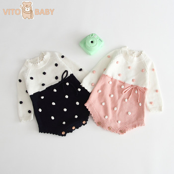 Baby Girls Knitting Romper Autumn Winter Sweater Romper with Polka Dot Girls Pink Pure Cotton Baby Jumpsuit infant Clothin autumn thanksgiving fall winter baby girls brown orange turkey outfits polka dot pant clothes ruffle boutique match accessories