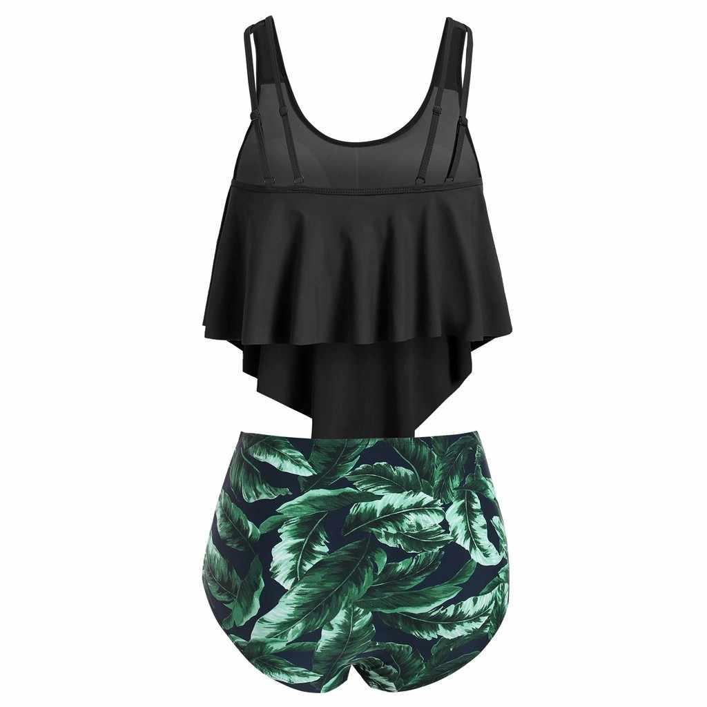 Bikini con estampado de hojas, bañador Sexy de cintura alta, Top con Tanga, traje de baño para mujer, conjunto de Tankini de playa brasileño, traje de baño del 20Mar 2 piezas