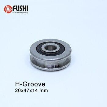 Rodamiento de ranura H204714 H (2 uds.) 20*47*14mm rodillos de rodamiento de acero H4/1 rodamientos de guía deslizante U polea de rueda