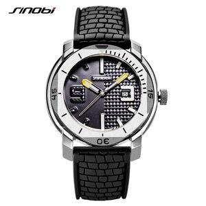 Image 2 - SINOBI High Quality Stainless Steel Mens Watches Hour Military Soft Silicone Strap Calendar Sport Waterproof Wrist Watch reloj