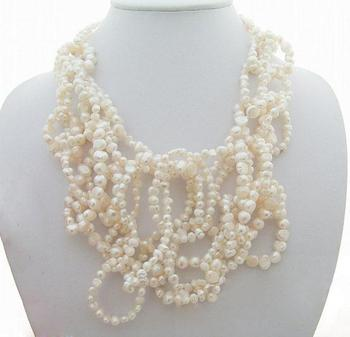 Unique Pearls jewellery Store White Color Baroque Genuine Freshwater Pearl Necklace Charming Women Gift Fine Jewelry