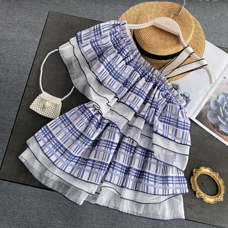 INS Holiday Style Sweet Ruffles Oblique Collar Off-the-Shoulder Strap Plaid Shirt Short Top Female Summer Blouse Streetwear Top
