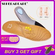 Ортопедическая стелька из кожи премиум-класса для обуви с плоской подошвой, ортопедическая прокладка для коррекции здоровья ног