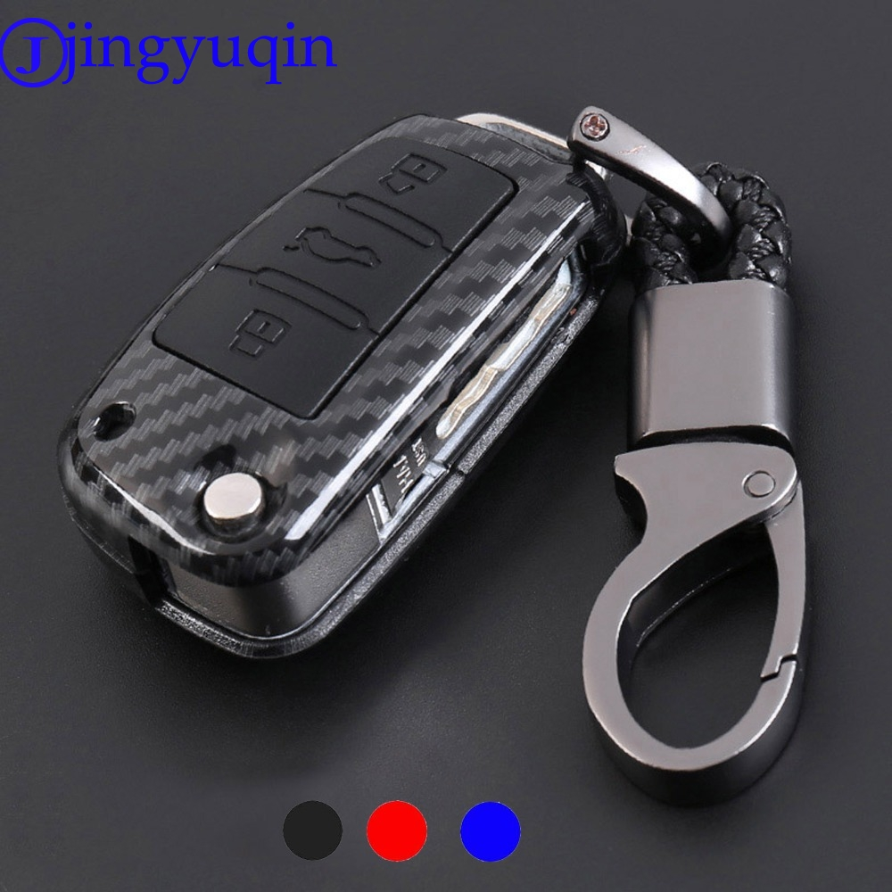 jingyuqin Carbon Fiber Shell Silicone Cover Remote Key Holder Fob Case amp KeyChain For Audi A1 A3 Q3 Q7 A6