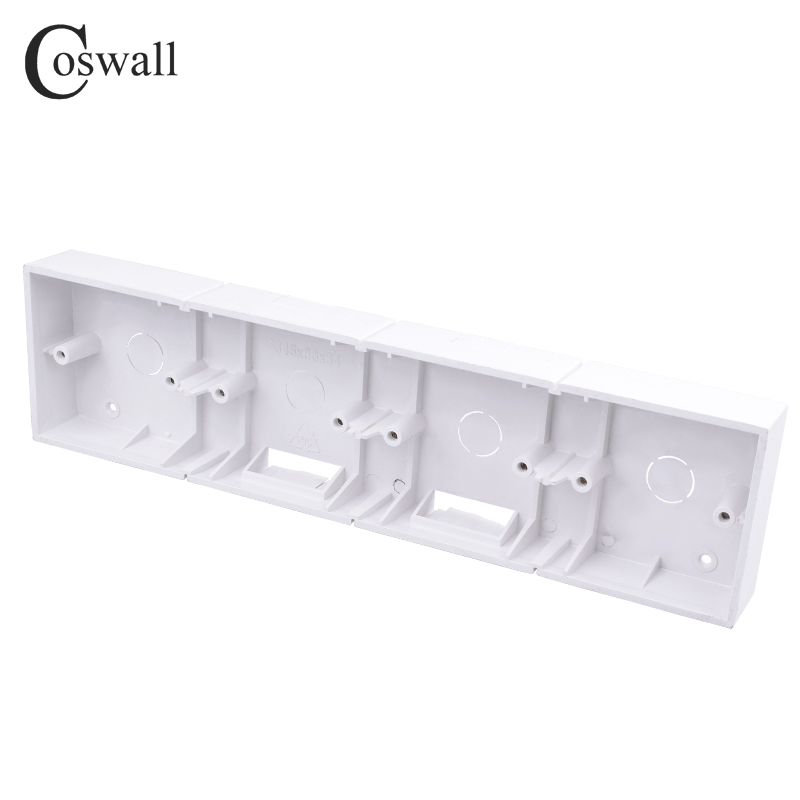 Coswall External Mounting Box 344mm*86mm*34mm for 86 Type Quadruple Switches or Sockets Apply For Any Position of Wall Surface