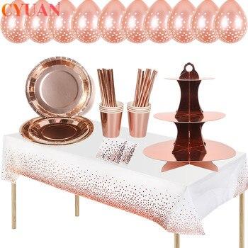 Украшения для дня рождения, подставка для торта из розового золота, салфетки для торта для взрослых на день рождения, праздничные украшения ...