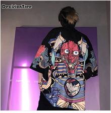 impressão quimono cardigan preto quimono casaco masculino streetwear outwear
