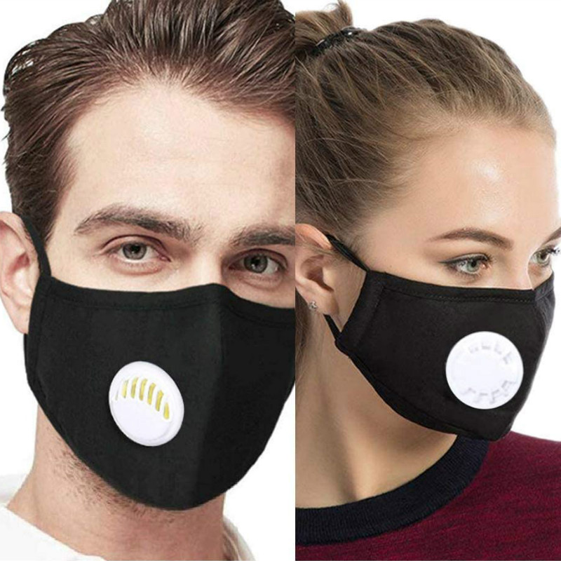 Dust PM2.5 Mouth Mask   With 4 Replaceable Filters Anti Pollution Breathable Face Masks Cotton Washable Adjustable Black