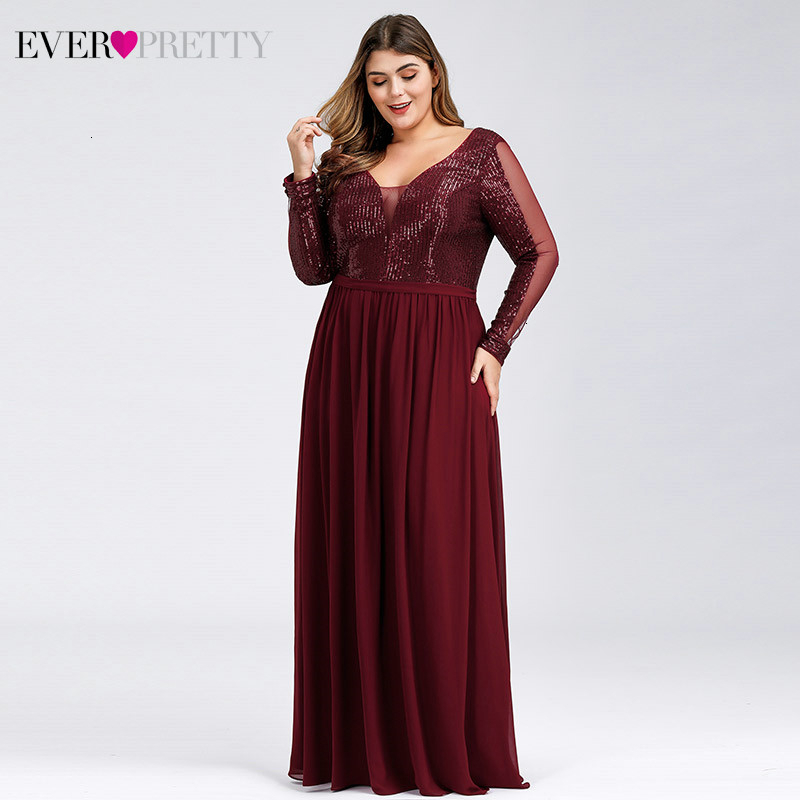 Plus Size Burgundy Prom Dresses Ever Pretty Deep V-Neck Sequined A-Line Long Sleeve See-Through Sexy Party Gowns Gala Jurk 2020