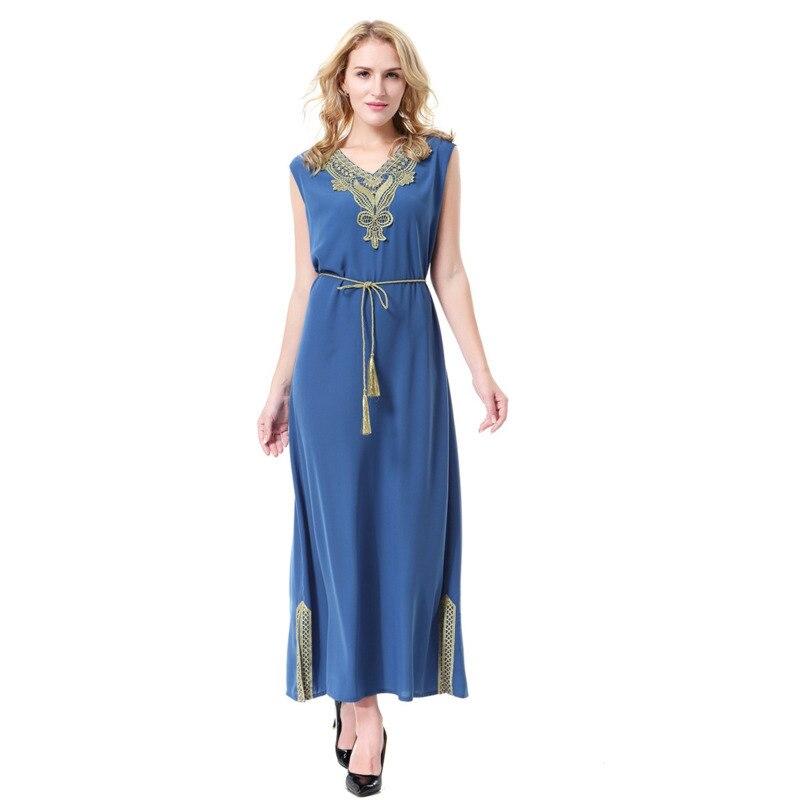 Sleeveless V collar Maxi Dress Long Muslim Women Malaysia Robe Abaya Indian Dress Daily Casual Dress Summer 3XL Plus Size
