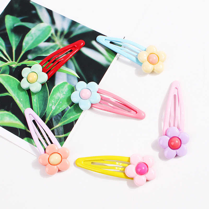 Fashion Mix Color Flower Hair Clips Girls Hairpin Lovely Kids HairPin Accessories For Women Barrettes Metal Hairclip Headwear
