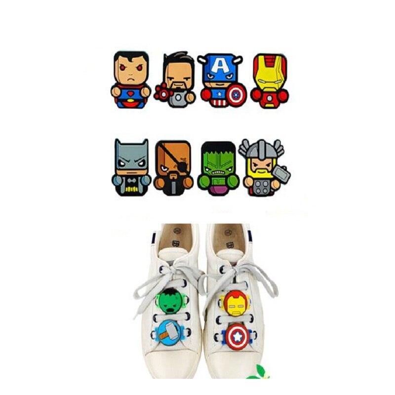 2pcs/set Marvel movie Avengers Accessories Sports Shoelace Buckle Figure Toys Iron Man Captain America Hulk Thor Spiderman gift