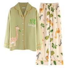 Осенне зимние женские пижамы с принтом оленя хлопковый Кардиган
