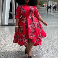 4XL Plus rozmiar sukienki koktajlowe 2020 afrykański nadruk kobiety lato Retro asymetryczne czerwone modne Oversize sukienka koktajlowa tanie tanio tanpell Scoop Połowa NONE Tea-długość Asymetryczny PATTERN REGULAR Cocktail party JERSEY 18048910 vintage Naturalne