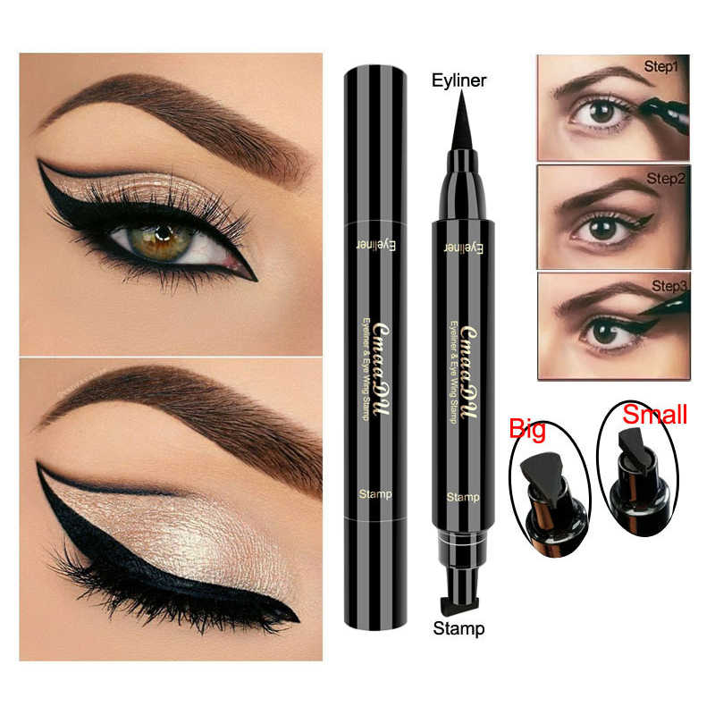 1 Pc Brand New Double Head Liquid Eye Liner Black Seal Pen Stempel Eyeliner Potlood Waterdicht Blijvende Kat Ogen Make-Up tool TSLM2