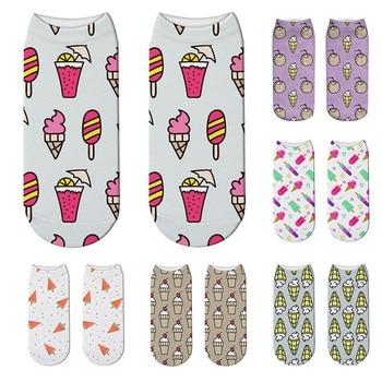 Creative Design 3D Printed Mini Pattern Women Socks Cute Cartoon Pineapple Fruit Ice Cream Summer Happy Low Ankle