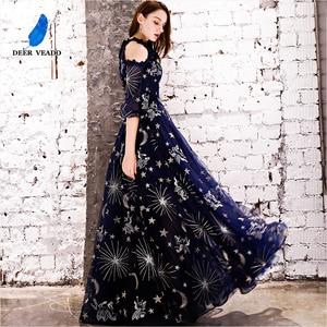 Image 3 - DEERVEADO Vintage Pattern A Line Tulle Evening Dresses Long Formal Dress Evening Gown Robe de Soiree YS439
