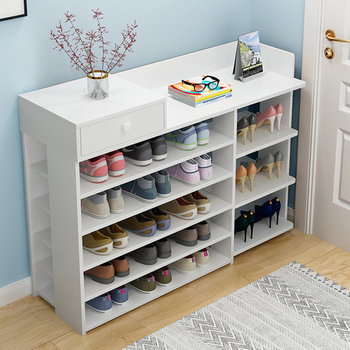 Multi-layer shoe rack shoe cabinet storage with doors home space saving MDF wooden shoe shelf storage organizer
