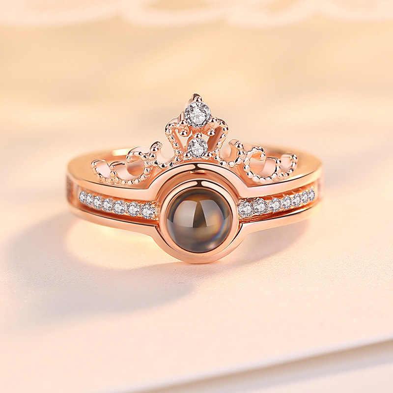 ドロップシッピングローズゴールド & シルバー 100 言語私は愛あなた投影リングとペンダントロマンチックな愛の結婚指輪ジュエリー