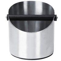 O recipiente dos motivos de café  caixa de aço inoxidável redonda do knocker do café para escaninhos do café do antiderrapante do barista que moem (158x140mm)   -