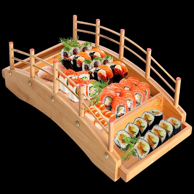 Japanese wooden wood Cuisine Sushi Bridge Boats Pine Creative Sushi Sashimi plate Platter Sushi Tableware Decoration Ornament