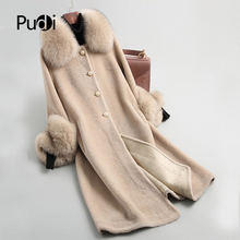 PUDI A19003 Lady  Real wool sheep shearling fur coat women fox collar winter warm genuine fur coat winter warm coat pudi a59360 women winter 30