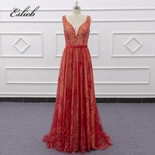SJ186 real photo deep v-neckline red with belt latest evening dress
