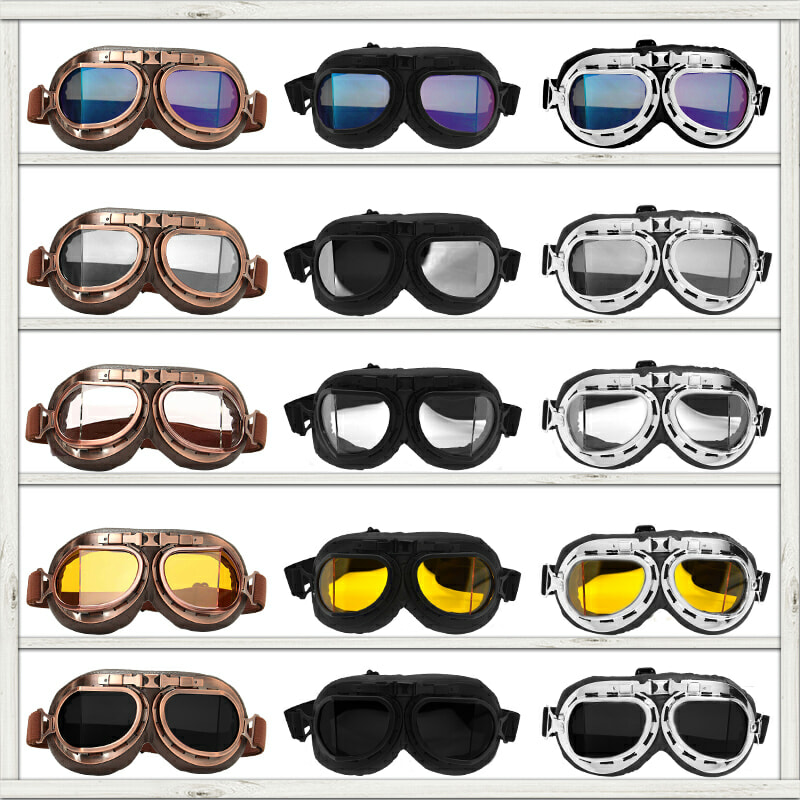 Motorcycle Glasses Retro Helmet Pilot Goggles Motorbike 100% UV400 Vintage Classic Glasses For Moto Scooter ATV Dirt Biker