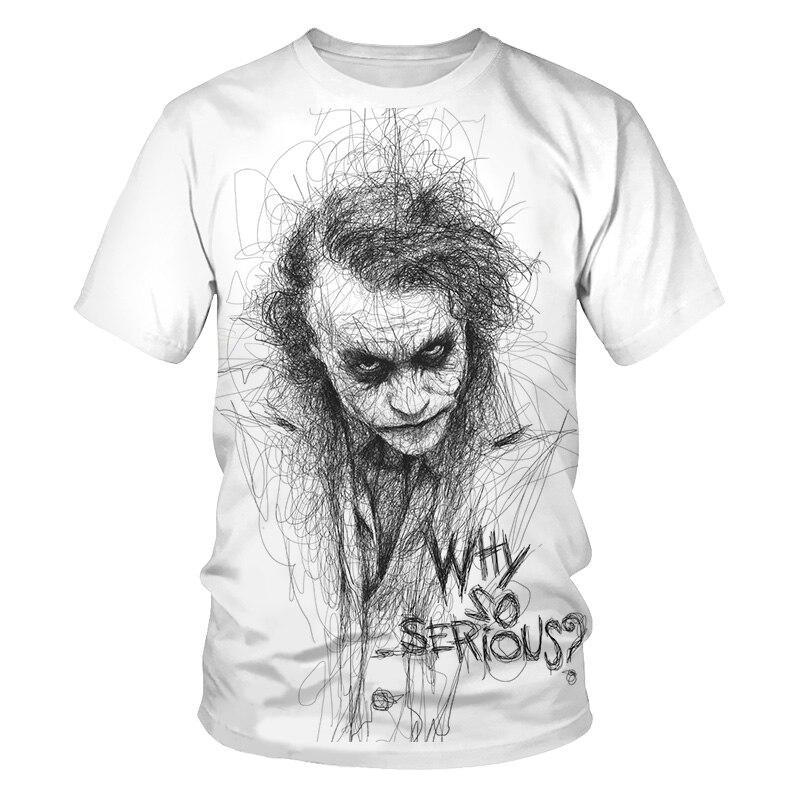 Croquis le clown 3D imprimé t-shirt hommes Joker visage décontracté col rond mâle t-shirt Clown à manches courtes blague drôle t-shirts puls 4XL