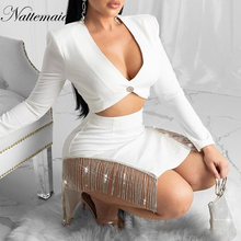 NATTEMAID Sexy Tassel Chain Glitter Two Pieces Set Bow Top And Skirt Autumn Women Set Club Hollow Out 2 Piece Set Women dress