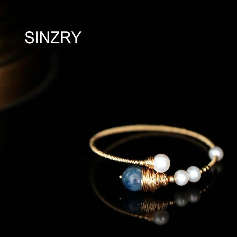 Feito à Mão Pedra do Vintage Sinzry Natural Pérola Criativo Manguito Pulseiras Personalidade Moda Jóias