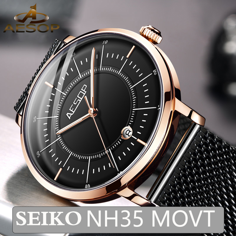Aesop 2020 New Mechanical Watches Men Japan NH35 Movement Luminous Automatic Men's Watches Top Brand Luxury Relogio Masculino