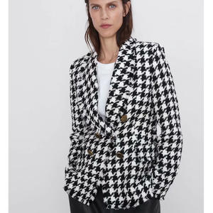 RR Double Breasted Blazers Women Fashion Houndstooth Casual Jackets Women Elegant Long Sleeve Suits Female Ladies HT