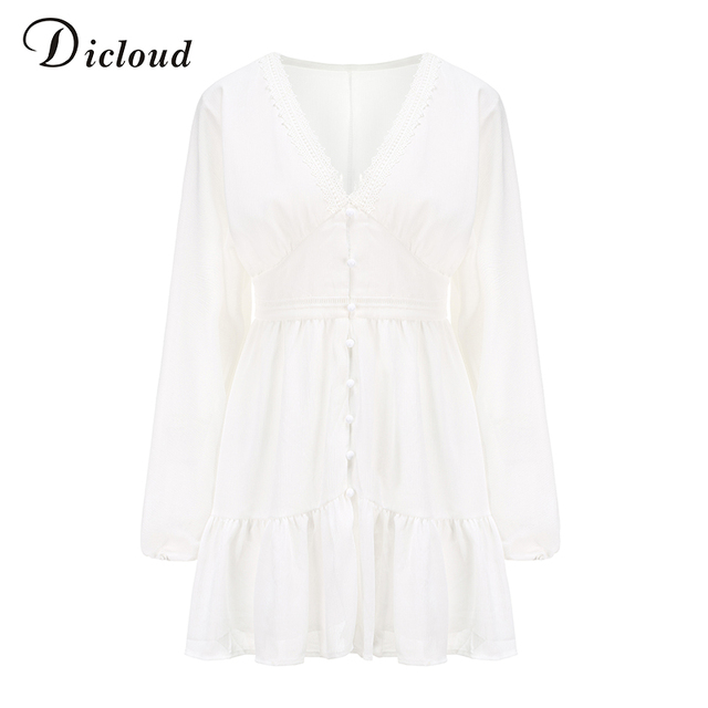 DICLOUD Sexy Plunge V Neck Women's Summer Dress White Lace Long Sleeve Mini Wedding Party Dress Ruffle Elegant Clothes 2021 6